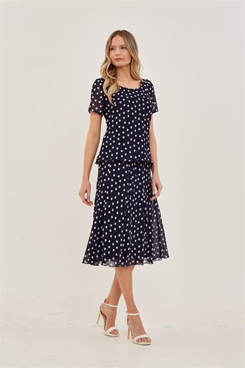 Julianna Spot Chiffon Panel Skirt