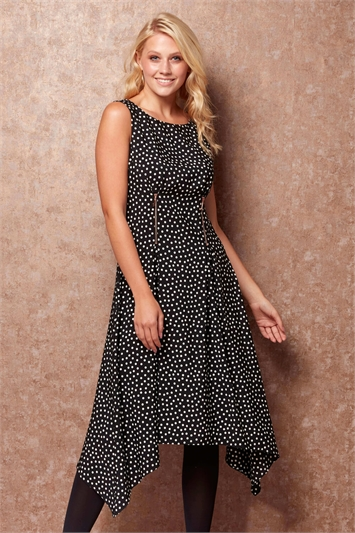 Zip Detail Fit and Flare Spot Dress