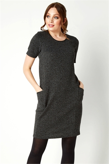 Faux Leather Trim Pocket Dress