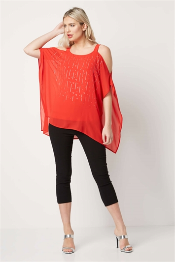 Lightweight Chiffon Diamante Top