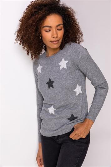 Grey Star Print Crew Neck Jumper