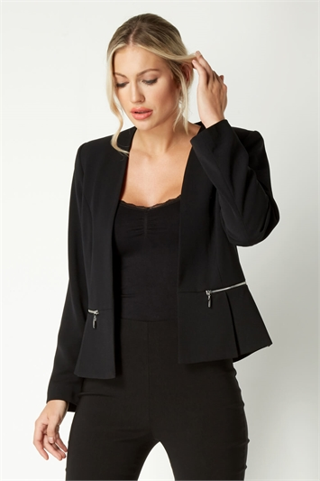 Black Long Sleeve Zip Detail Jacket
