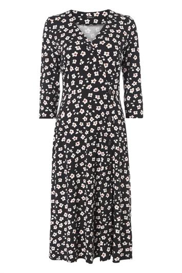 Black Floral Print Midi Length Tea Dress