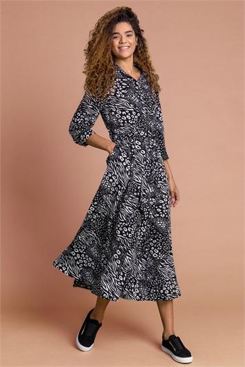 Black Animal Print Belted Shirt Dress, Image 1 of 4