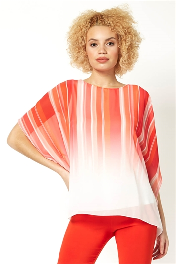 Ombre Stripe Print Overlay Top