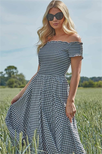 Gingham Bardot Fit and Flare Dress