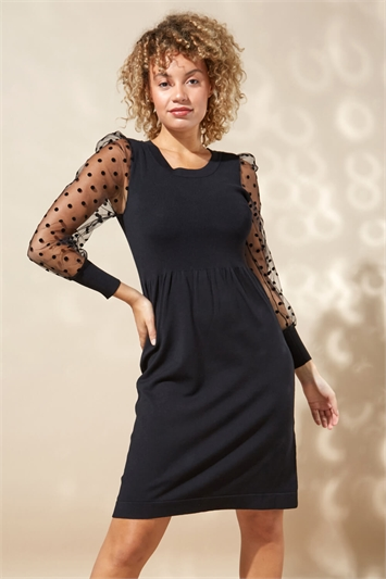 Flock Spot Sleeve Knitted Dress