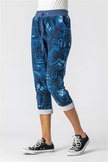 Denim Tropical Print Roll Hem Cropped Pants