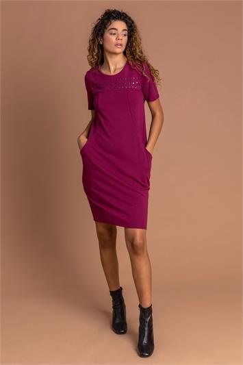 Bordeaux Eyelet Embellished Pocket Slouch Dress