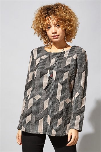 Geometric Aztec Print Necklace Top
