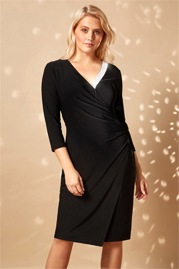 V-Neck Diamante Trim Wrap Dress