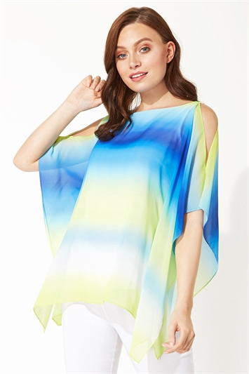 Ombre Cold Shoulder Overlay Top