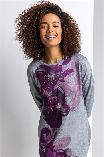 Purple Floral Print Embellished Slouch Dress, Image 1 of 4