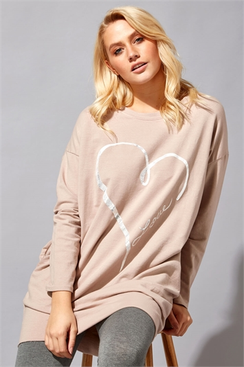 Foil Heart Pocket Sweater Top