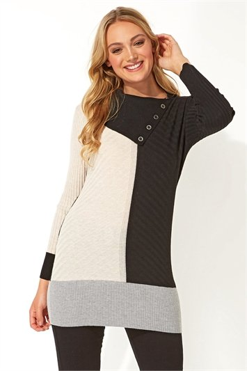 Colour Block Split Neck Jumper