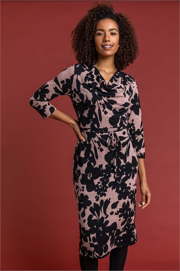 Pink Floral Knitted Cowl Neck Dress, Image 1 of 4