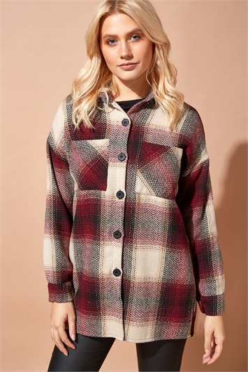 Brushed Check Shirt Jacket