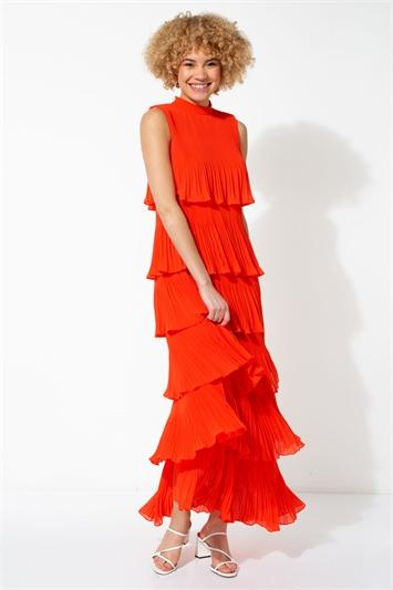 Orange Pleated Layer Frill Maxi Dress