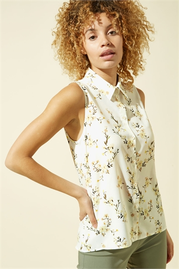 Floral Sleeveless Button Through Blouse