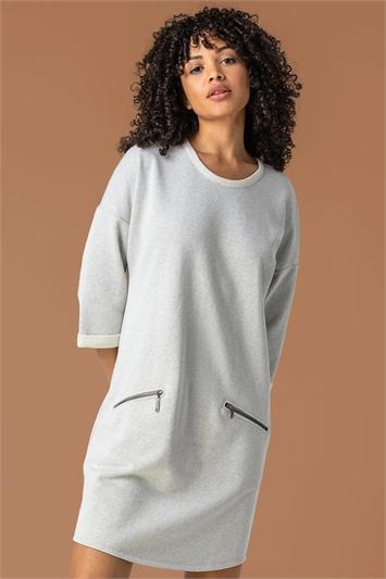 Grey Zip Pocket Detail Jumper Dress, Image 1 of 4