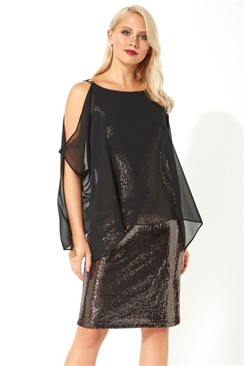 Chiffon Cold Shoulder Sequin Dress