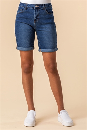 Turned Hem Denim Shorts