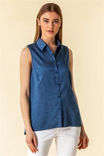 Jacquard Animal Print Sleeveless Shirt