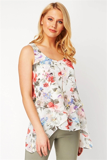 Pink Floral Print Asymmetric Top , Image 1 of 8