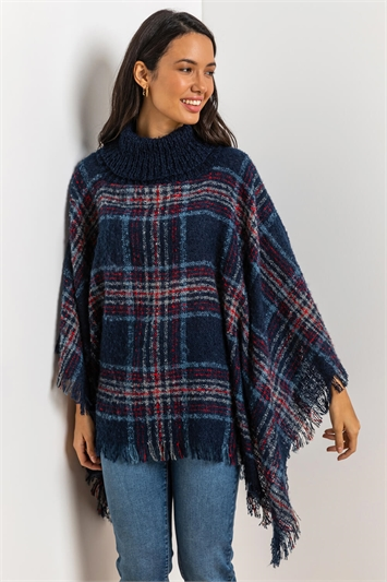 Midnight Blue Check Knit Roll Neck Poncho, Image 1 of 4