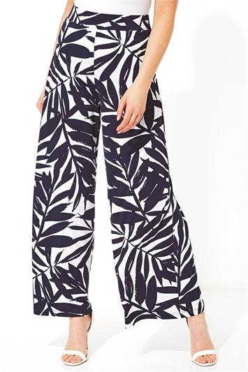 Fern Print Wide Leg Trousers