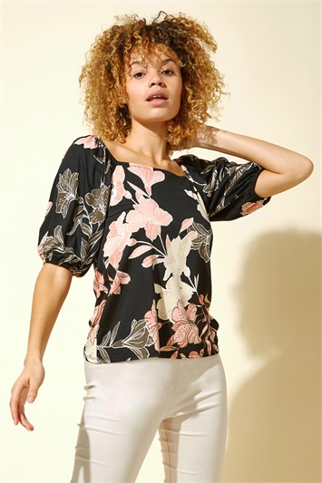 Floral Lily Print Square Neck Top