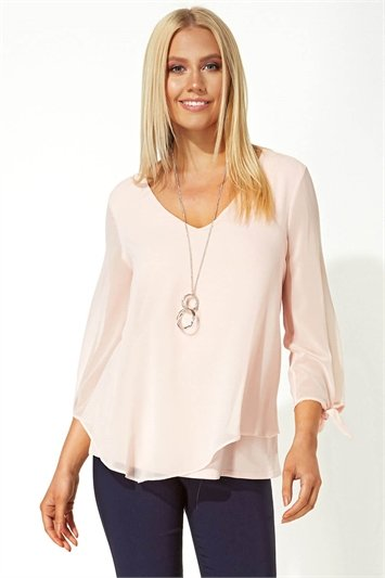 Necklace Trim Sleeve Tie Top