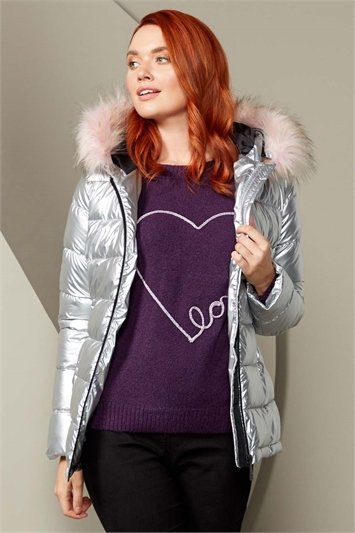 Metallic Faux Fur Trim Padded Coat