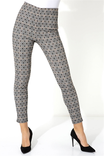 Grey Check Spot Stretch Trousers , Image 1 of 5
