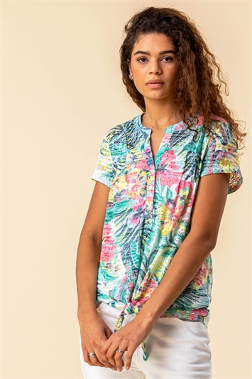 Tie Hem Tropical Print Top