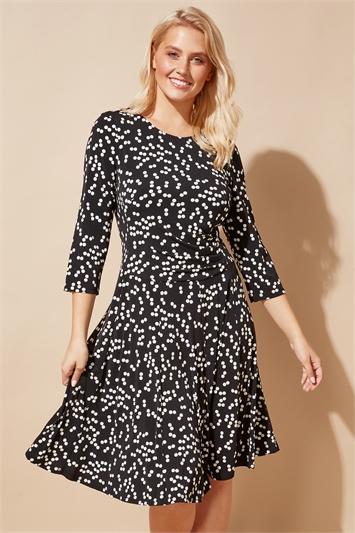 Spot Print Pleat Waist Skater Dress
