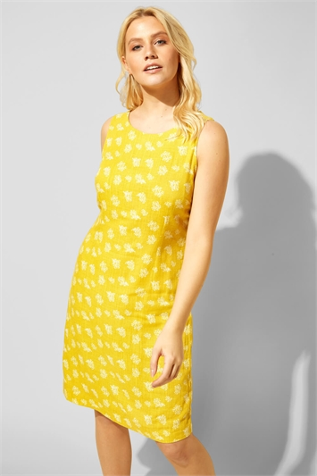 Button Back Printed Shift Dress