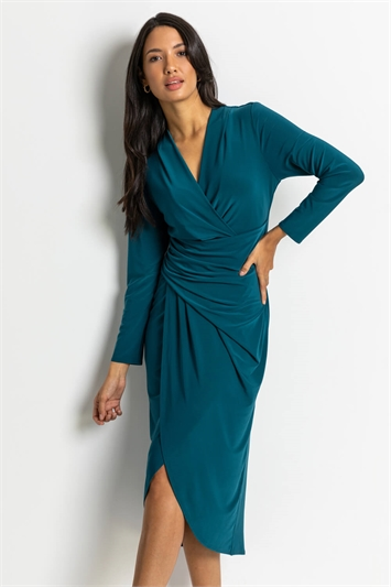 Petrol Blue Fitted Jersey Wrap Dress, Image 1 of 4
