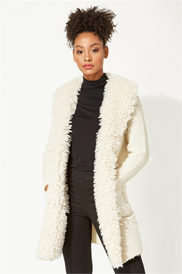 Longline Faux Shearling Knit Coatigan