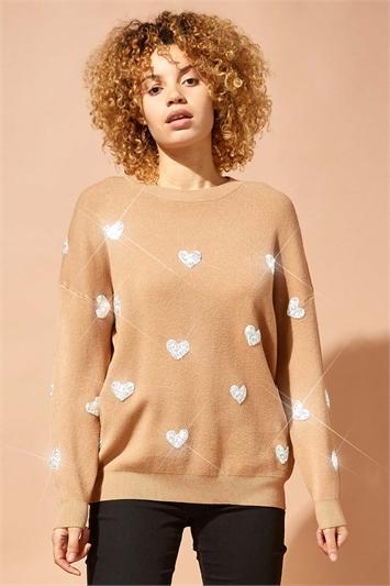 Camel Heart Embellished Knitted Jumper