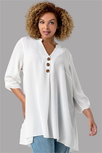 Ivory Curve Button Detail Tunic Top, Image 1 of 4