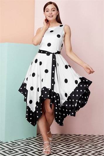 Spot Hanky Hem Fit and Flare Dress