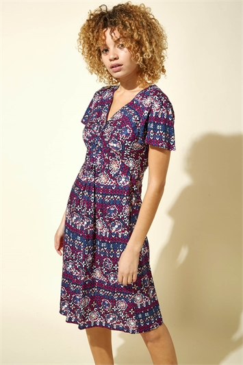Twist Front Tile Print Tea Dress