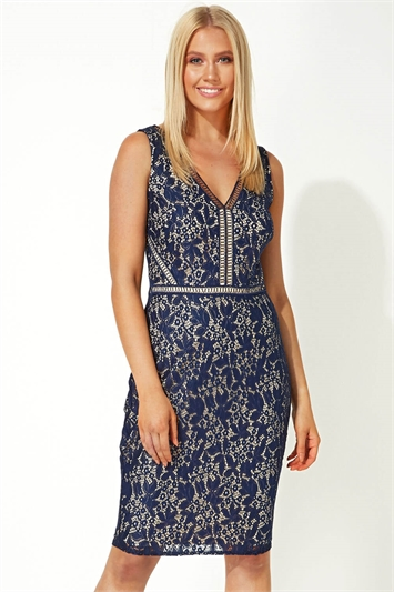 Ladder Lace Fitted Dress
