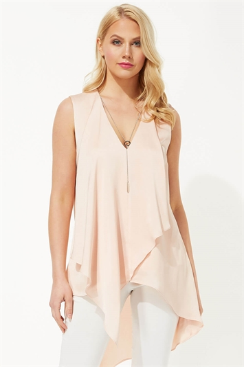 Sleeveless Asymmetric Necklace Top
