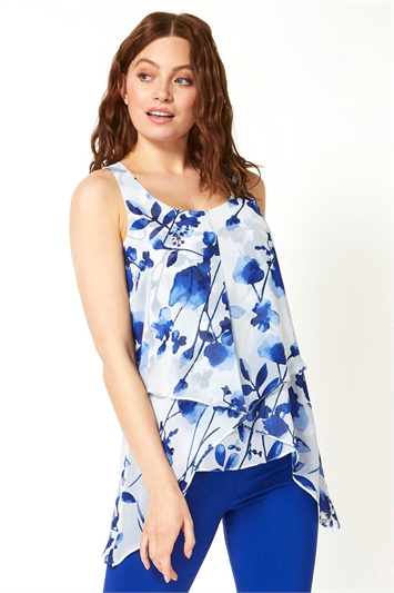 Floral Asymmetric Vest Top