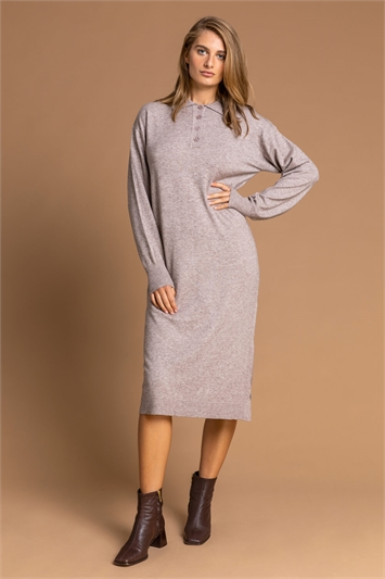 Taupe Polo Neck Knitted Midi Dress