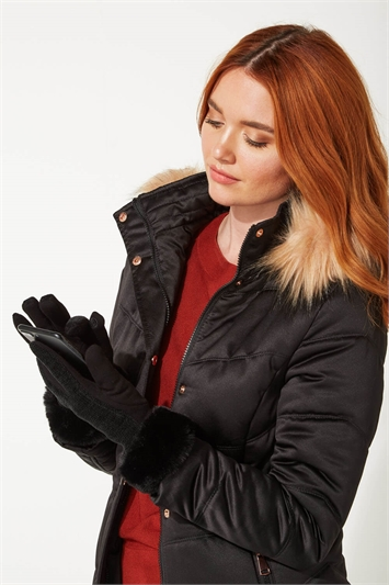 Faux Fur Trim Chenille Gloves