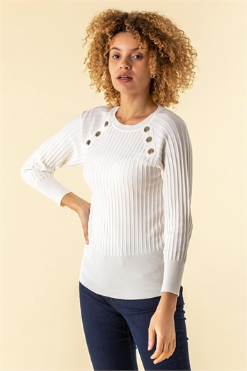 Button Detail Ribbed Jumper