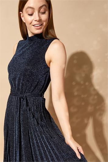 Midnight Blue Shimmer Pleated Midi Dress